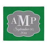 Modern Wedding Monogram - green Throw Blanket