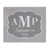 Modern Wedding Monogram - gray Throw Blanket