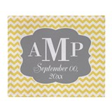 Modern Wedding Chevrons - yellow gray Throw Blanke
