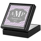 Modern Wedding Chevrons - purple gray Keepsake Box