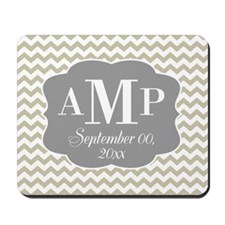 Modern Wedding Chevrons - gray beige Mousepad