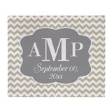 Modern Wedding Chevrons - gray beige Throw Blanket