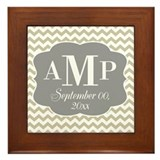 Modern Wedding Chevrons - gray beige Framed Tile