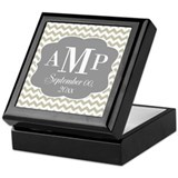 Modern Wedding Chevrons - gray beige Keepsake Box