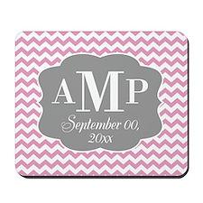 Modern Wedding Chevrons - pink gray Mousepad
