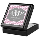 Modern Wedding Chevrons - pink gray Keepsake Box