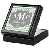 Modern Wedding Chevrons - mint gray Keepsake Box