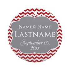 Chevrons Wedding Favor - red Ornament (Round)