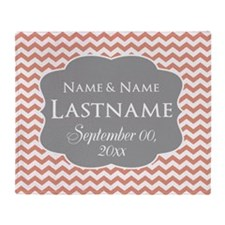Chevrons Wedding Favor - coral Throw Blanket