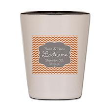 Chevrons for a Wedding - orange Shot Glass