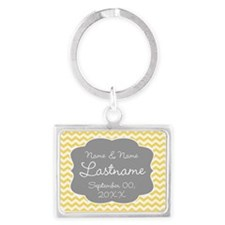 Chevrons for a Wedding - yellow grey Keychains
