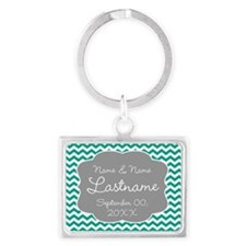 Chevrons for a Wedding - teal Keychains