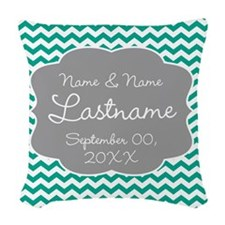 Chevrons for a Wedding - teal Woven Throw Pillow