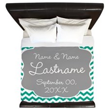 Chevrons for a Wedding - teal King Duvet