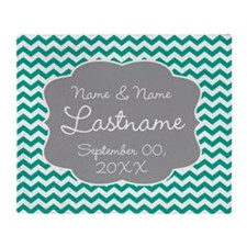 Chevrons for a Wedding - teal Throw Blanket