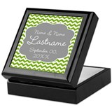 Wedding or Anniversary Chevrons green Keepsake Box