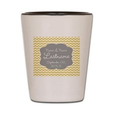 Wedding or Anniversary Chevrons yellow Shot Glass