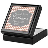 Wedding or Anniversary Chevrons coral Keepsake Box