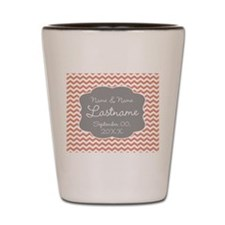 Wedding or Anniversary Chevrons coral Shot Glass
