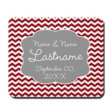 Wedding or Anniversary Chevrons red Mousepad