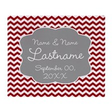 Wedding or Anniversary Chevrons red Throw Blanket