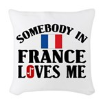 Somebody In France Woven Throw Pillow