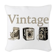 Vintage-Tan and Black Woven Throw Pillow