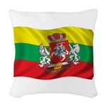 Wavy Lithuania Flag Woven Throw Pillow
