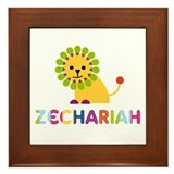 Zechariah Loves Lions Framed Tile