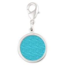 Textured Cyan Look Silver Round Charm