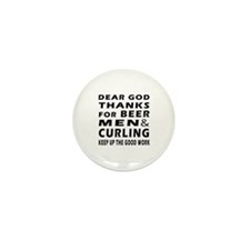 Beer Men and Curling Mini Button (100 pack)