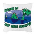 Beware Of Loch Ness Monster Woven Throw Pillow