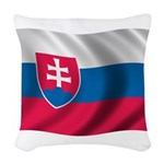 Wavy Slovakia Flag Woven Throw Pillow