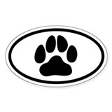 Paw Print Euro Oval Decal
