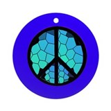 Stained Glass Peace Symbol Ornament (Round)