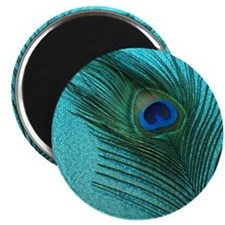 "Metallic Aqua Peacock 2.25"" Magnet (100 pack)"
