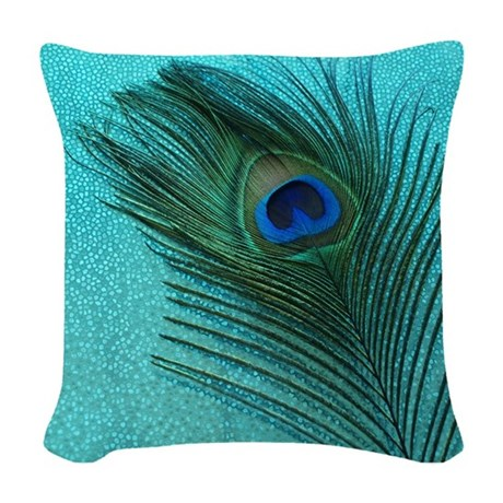 Metallic Aqua Peacock Woven Throw Pillow by ChristyOliver