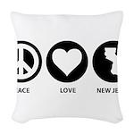 Peace Love New Jersey Woven Throw Pillow