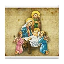 Holy Family Nativity with Angelic visitors Tile Co