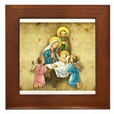 Holy Family Nativity with Angelic visitors Framed