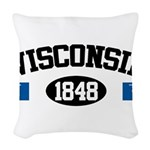 Wisconsin 1848 Woven Throw Pillow