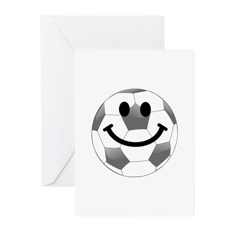 Soccer ball smiley face Greeting Cards (Pk of 10)