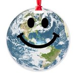 Happy earth smiley face Round Ornament