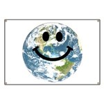 Happy earth smiley face Banner