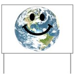 Happy earth smiley face Yard Sign
