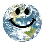 Happy earth smiley face Round Car Magnet