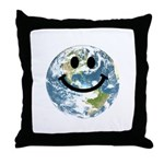 Happy earth smiley face Throw Pillow