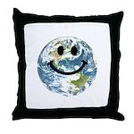 Happy earth smiley face Throw Pillow