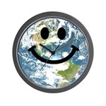 Happy earth smiley face Wall Clock