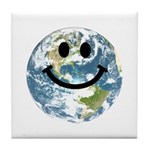Happy earth smiley face Tile Coaster